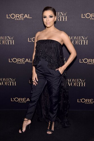 jumpsuit pants all black everything eva longoria sandals strapless shoes