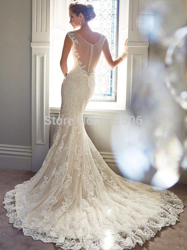 White lace mermaid wedding dresses 2014 v neck see through back exquisite white lace mermaid wedding dresses 2014 v neck see through back court train pearls beads bridal junglespirit Image collections