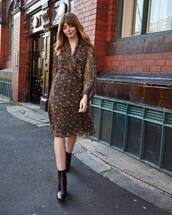 dress,midi dress,long sleeve dress,ankle boots,printed dress