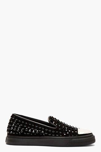 stud shoes sneakers black menswear crystal quartz capped slip