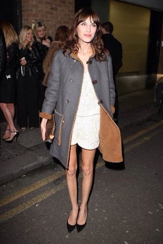 alexa chung vintage alexa chung dress hipster indie shearling jacket sheep coat shearling jacket white dress little white dress i'd night time style girly