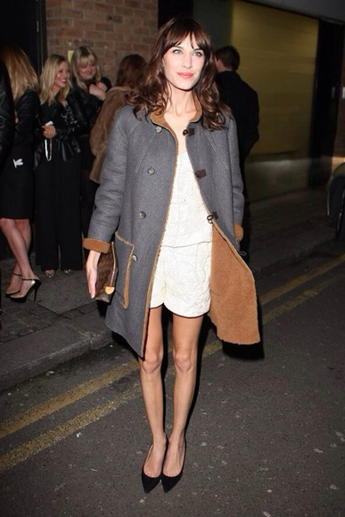 alexa chung vintage hipster indie white dress shearling sheep coat shearling coat little white dress i'd night time style girly alexa chung dress girly outfits