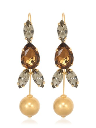 crystal earrings earrings gold brown jewels