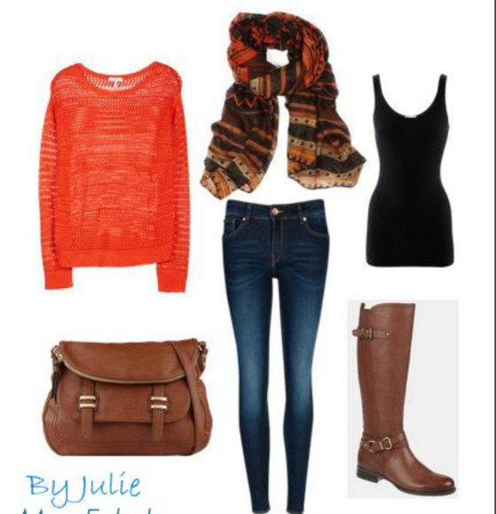 shirt jeans orange shirt pattern scarf black tank top brown boots brown bag