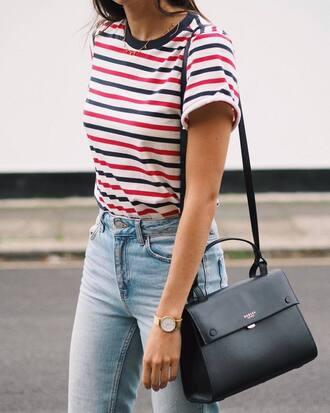 t-shirt jeans blue jeans bag black bag watch gold watch jewels