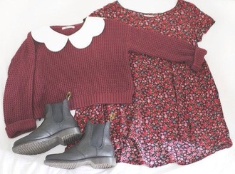 sweater peter pan collar burgundy hipster dress floral dress red floral shoes black boots