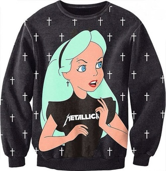 jacket goth alice and wonderland sweater black emo disney disney alice in wonderland blue and black sweater(disney )