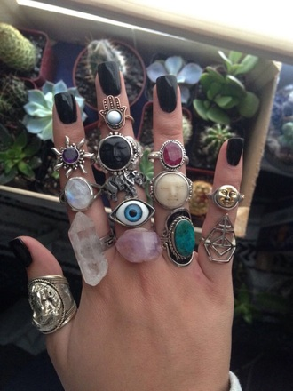 jewels ring hippie trippy colorful plants vintage sun eye crystals green gold hand black yoga hippie boho gypsy boho chic moon succulents style crystal accessories