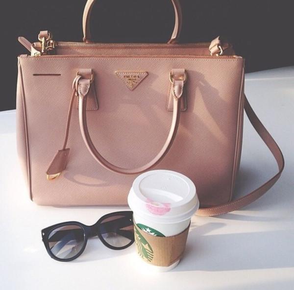 bag prada pink pale handbag nude brown purse