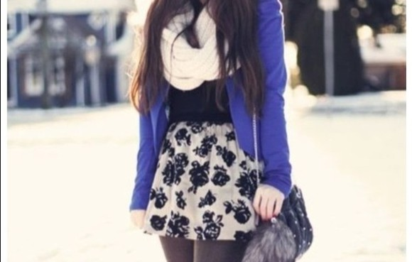 skirt blue sweater scarf shirt blouse jacket