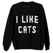 sweater,cats,black sweater,black and white,quote on it,cool,oversized sweater,oversized,hipster,black,grunge,cute,cat pullover,cute cats,cute sweaters,girly,soft grunge,indie,hippie,h&m,romwe jumpers,love more,white,t-shirt,top,jacket,cool cute cats