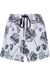 shorts,blue shorts,pastel blue,flowered shorts