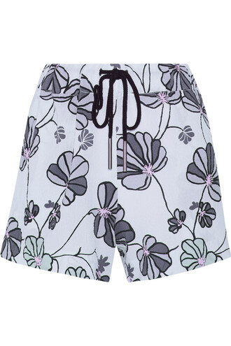shorts blue shorts pastel blue flowered shorts