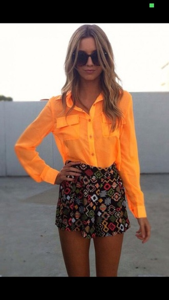 shorts neon blouse bright coloured must have
