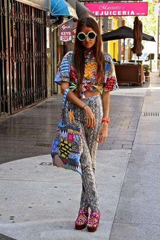 shirt pants pattern print mixed prints sunglasses
