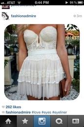 dress,lace,crochet,corset,cute,white,ruffle
