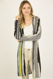cardigan,abstract,stripes,black,grey,yellow,aqua,long cardigan