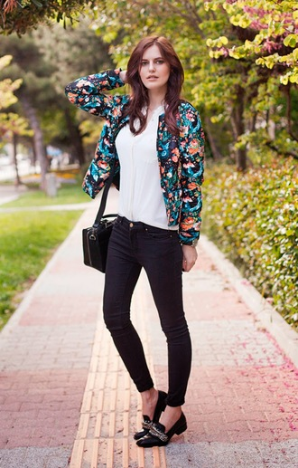the bow-tie blouse jeans bag shoes