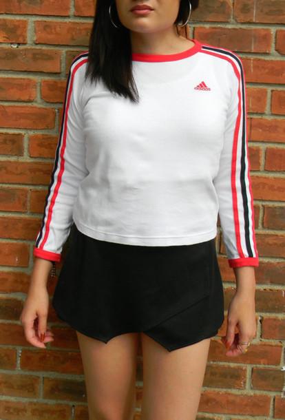 shirt adidas 90s style long sleeves crop tops t-shirt clubkid club kid sporty