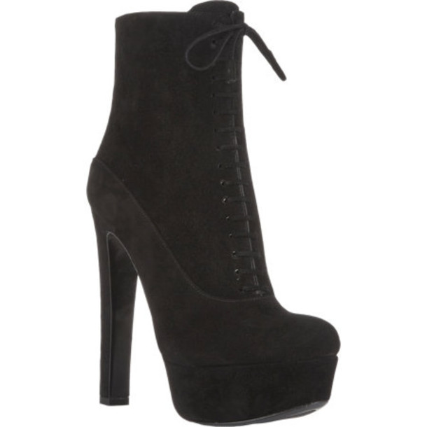 high heel suede ankle boots
