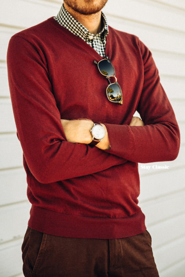 stay classic blogger jewels sunglasses fall outfits burgundy gingham menswear