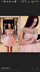 pink dress,beaded,beaded dress,crystals short prom dress,crystal,tule,tulle dress,homecoming dress,evening dress,prom dress,formal event outfit,cute dress,dress
