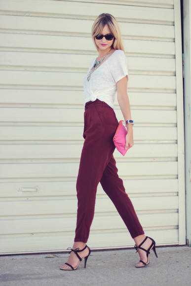 pop culture afternoon maxi pleated red pants