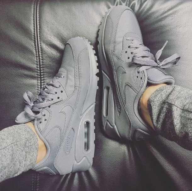 the best attitude ca442 b7806 shoes nike grey sneakers nike sneakers all grey everything air max woman s  trainers nikes grey sneakers
