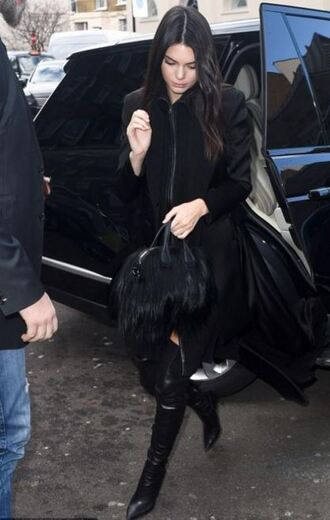 bag all black everything streetstyle kendall jenner boots london fashion week 2016 fashion week 2016