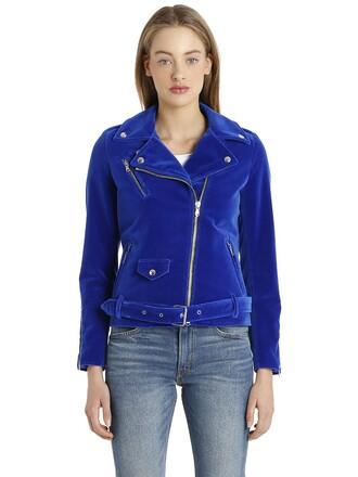jacket biker jacket velvet blue