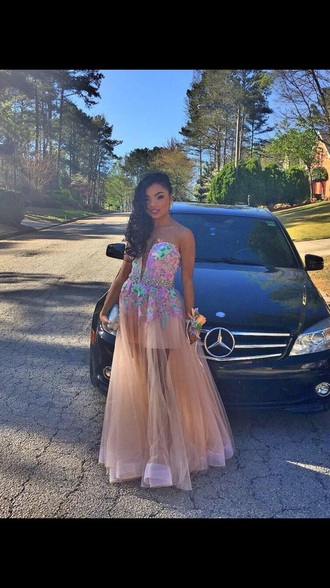 dress flower prom dress prom dress prom gown sheer dress nude dress blue and purple dress\