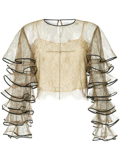 Huishan Zhang blouse sheer blouse sheer women lace silk top