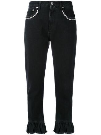 flare cropped women cotton black pants