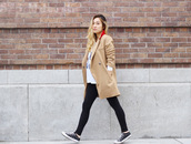 love joo kim,blogger,camel coat,converse,white t-shirt,maternity,casual,top,coat,shoes