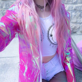 coat grunge crop tops high waisted shorts