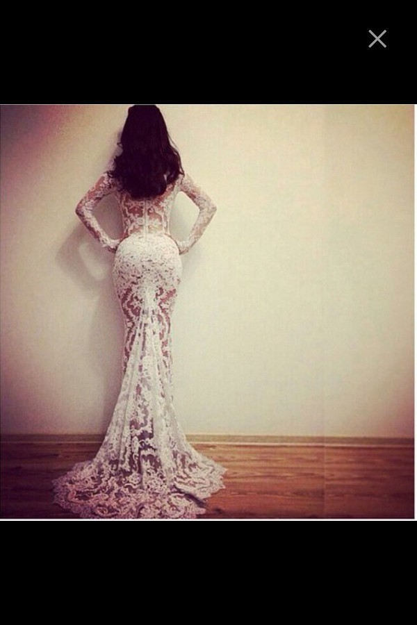 prom dress dress prom dress wedding dress mermaid wedding dress phone cover white floral gown white lace dress white lace dress sheer see through white lace dress sleeves long sleeve dress