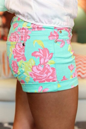 shorts mint floral flowered shorts blue pink flowers yellow turquoise cute pretty fashion miss hollis aqua pink flower shorts lilly pulitzer summer floral shorts adoable