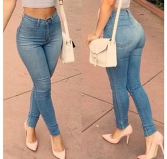 jeans denim high waisted jeans high heels bag body