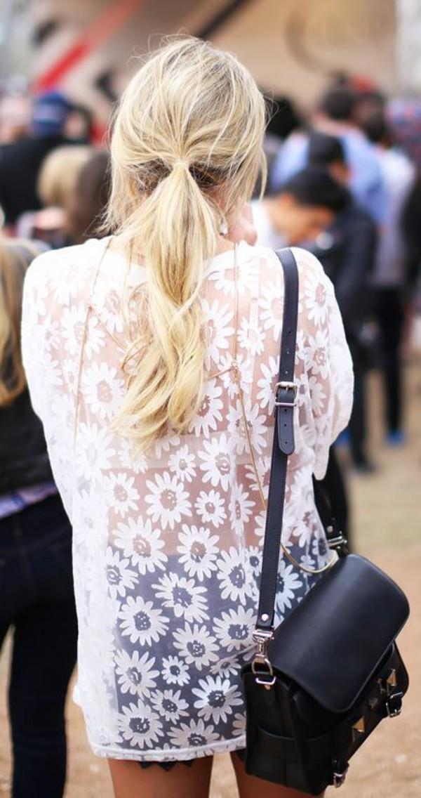 top floral shirt white floral daisy top transparent shirt