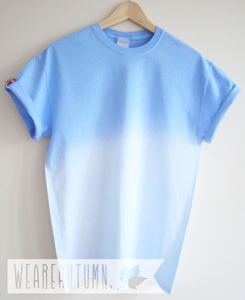 Sky blue dip dye floral shirt weareautumn for Mens dip dye shirt