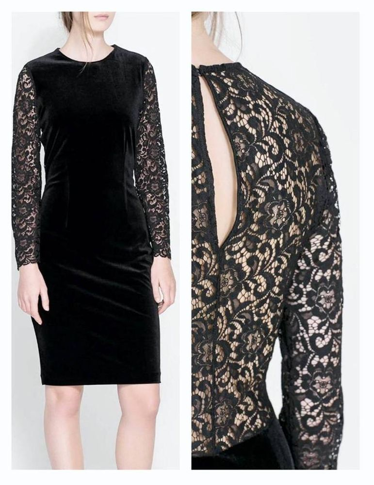 ZARA BLACK VELVET AND LACE DRESS SIZE XS BNWT | eBay
