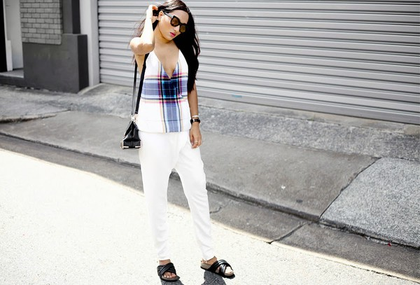 blogger top jewels bag sunglasses alexander wang tartan sandals