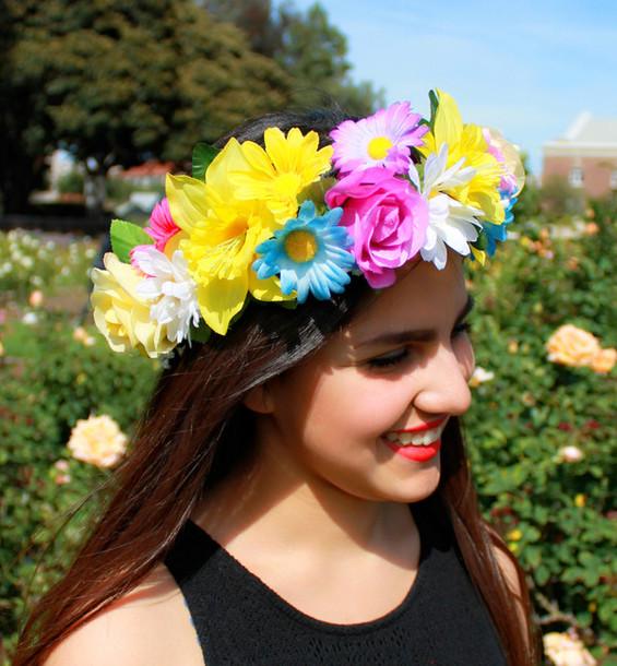 hair accessory flower crown flower crown floral floral headband flowers  yellow flower crown yellow flower flower b4f50228acf