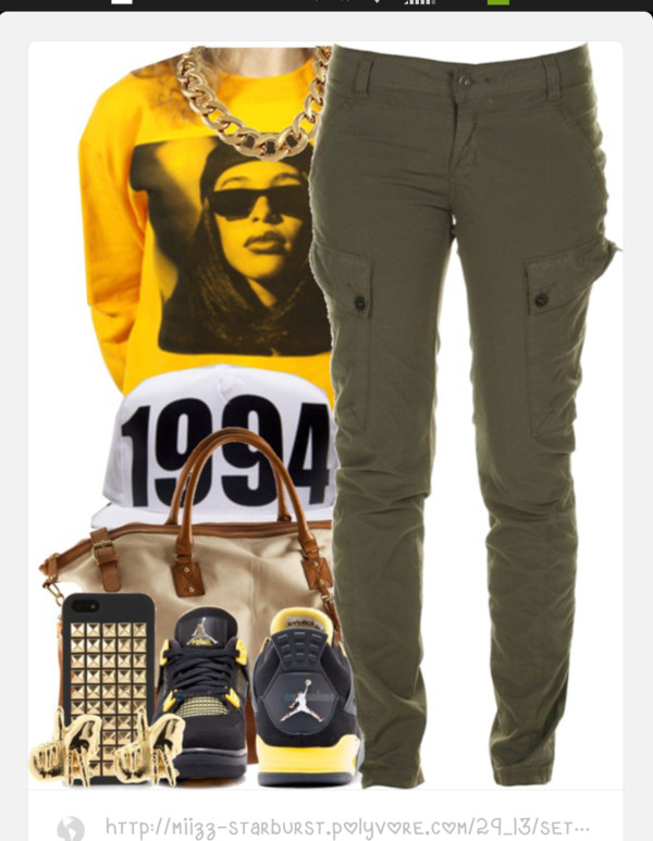jeans vintage gold chain beanie 1994 cargo pants jewels shirt