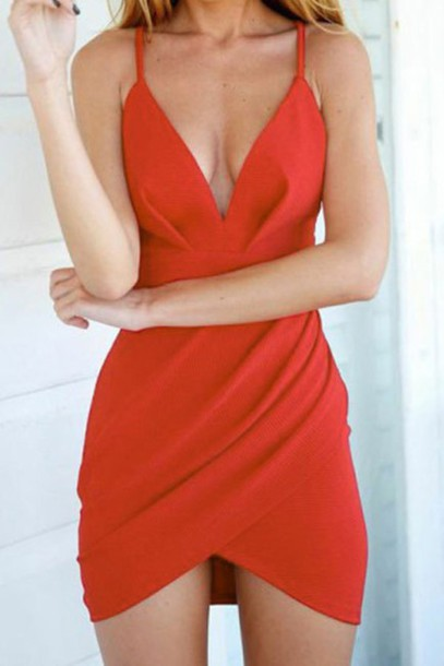 1bc87dda1ec5 dress orange red fashion trendy cleavage style summer rosegal-jan sexy  party hot rose wholesale
