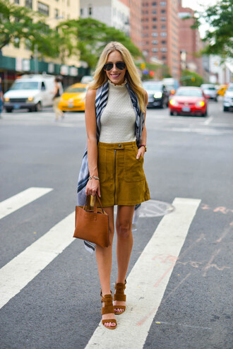katie's bliss - a personal style blog based in nyc blogger skirt sweater bag scarf shoes jewels white top zip zipped skirt mini skirt suede shoes suede skirt aviator sunglasses