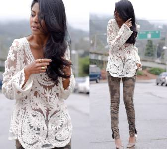 ZARA Mesh Cream Crochet BOHO Vintage Embroidery LACE FESTIVAL Beach Blouse TOP