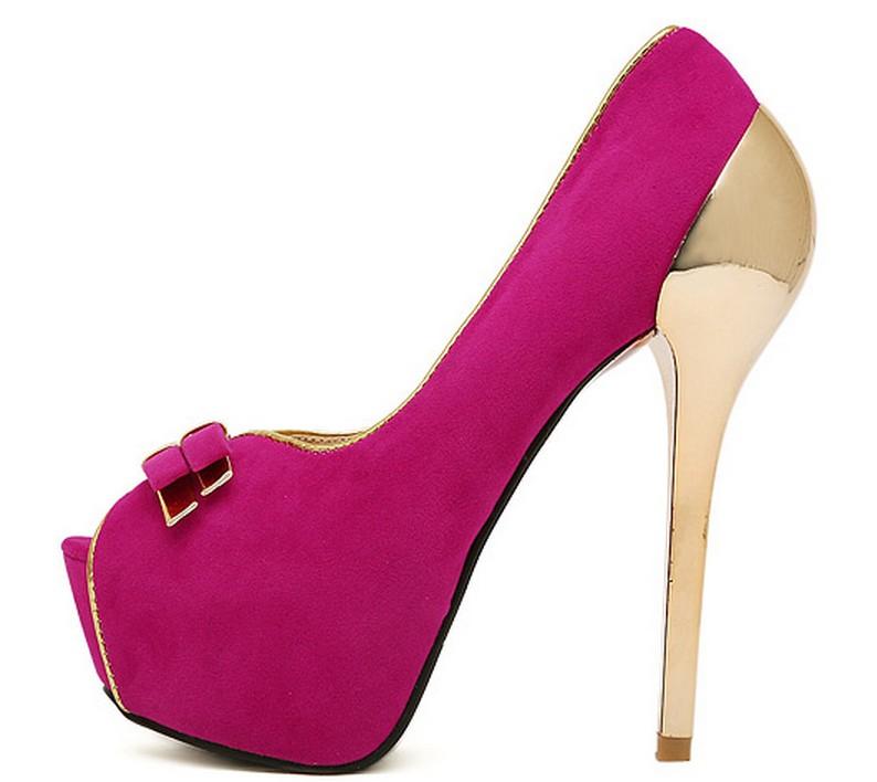 Women faux suede platform metallic gold high heel pump shoes bow detail size 3 5