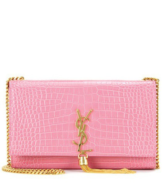 Saint Laurent Classic Monogram Medium Embossed Leather Shoulder Bag in pink