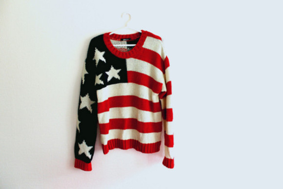 usa flag red sweater stars sweter sweter white american flag sweater red white blue jersey american flag flag hipster style fashion oversized sweater america sweater need help
